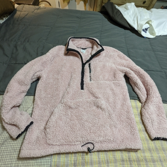 Pink fleece by pink jacket pull over front pockets